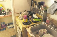 Second floor apartment kitchen at the Furby Street  rooming  rented by Sandra.