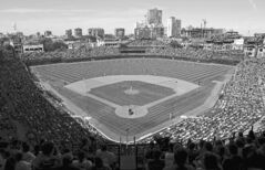The Los Angeles Dodgers play the Chicago Cubs at Wrigley Field in Chicago last summer.
