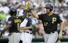 Pittsburgh Pirates' Gaby Sanchez is congratulated by teammate Josh Harrison after they both scored on Sanchez's home run off Detroit Tigers relief pitcher Phil Coke during the ninth inning of an interleague baseball game, Thursday, Aug. 14, 2014 in Detroit. (AP Photo/Carlos Osorio)