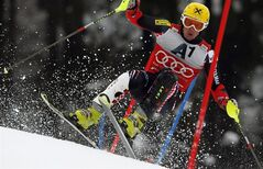 Croatia's Ivica Kostelic competes during an alpine ski, men's World Cup slalom, in Kitzbuehel. Austria, Sunday, Jan.22, 2012. (AP Photo/Shinichiro Tanaka)