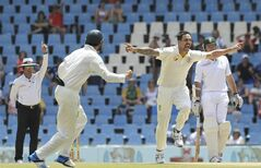 Australia's bowler Mitchell Johnson, center, celebrates his wicket of South Africa's batsman Alviro Petersen, for 1 run on the fourth day of their their cricket test match at Centurion Park in Pretoria, South Africa, Saturday, Feb. 15, 2014. (AP Photo/ Themba Hadebe)