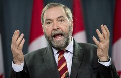 NDP leader Tom Mulcair speaks with the media during an end of session availability Wednesday December 18, 2013 in Ottawa. THE CANADIAN PRESS/Adrian Wyld