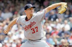 Washington Nationals phenom Stephen Strasburg unleashes a pitch in a 9-4 win over the Indians in Cleveland Sunday.