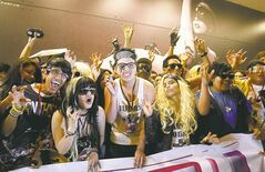 Lady Gaga fans wait to welcome the singer to Lima.