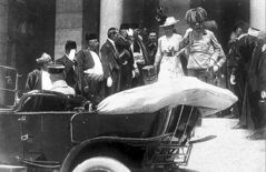 Archduke Franz Ferdinand and his wife, Sophie, walk to their a car in Sarajevo minutes before they were assassinated.