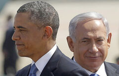 U.S. President Barack Obama with Israeli Prime Minister Benjamin Netanyahu during his arrival ceremony at Ben Gurion International Airport in Tel Aviv Wednesday.