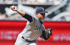 Seattle Mariners starting pitcher Erasmo Ramirez works against the San Diego Padres in the first inning of a baseball game, Thursday, June 19, 2014, in San Diego. (AP Photo/Lenny Ignelzi)