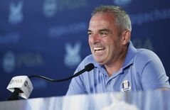 Paul McGinley, European Ryder Cup Captain, speaks to the media during a news conference at the PGA Championship golf tournament at Valhalla Golf Club on Wednesday, Aug. 6, 2014, in Louisville, Ky. The tournament is set to begin on Thursday. (AP Photo/Chris Carlson)