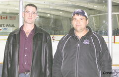 Tournament of Aces director Kyle Wingate (left) and tournament room supervisor Pete Unrau at East St. Paul Arena.