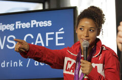 Canadian soccer Olympian and bronze medalist Desiree Scott visits Free Press News Café in August.