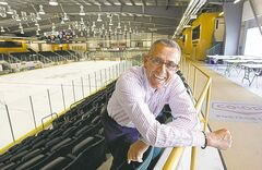 Jeff Bereza, one of the main movers behind the PCU Centre, stands near the facility's main hockey rink and walking path.