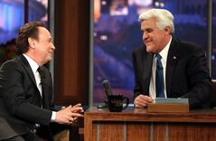 "Billy Crystal, left, talks to host Jay Leno during the final taping of NBC's ""The Tonight Show with Jay Leno,"