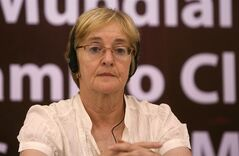 Canadian Maude Barlow attends a session of the World People's Conference on Climate Change and the Rights of Mother Earth in Tiquipaya, on the outskirts of Cochabamba, Bolivia, Tuesday, April 20, 2010. Maude Barlow, the chairperson of the Council of Canadians, said she is concerned about the policies and the agenda that are being put forward by the Conservative party. THE CANADIAN PRESS/AP-Juan Karita