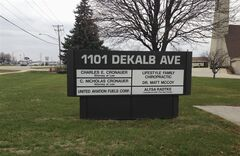 This undated photo provided by the Regional Transportation Authority in Chicago shows a list of businesses in a small office building in Sycamore, Ill., including United Aviation Fuels, Corp., a subsidiary of United Airlines. The RTA filed a lawsuit Monday, Jan. 14, 2013, alleging that United Airlines has been falsely claiming to buy jet fuel out of what it calls this