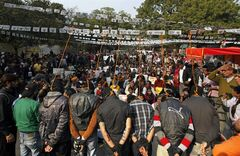 Six men enact a mock hanging during a protest demanding the death penalty for the six men accused of a fatal gang rape of a young woman in New Delhi last month in New Delhi, India, Tuesday, Jan. 29, 2013. Scores of protesters gathered near India's Parliament on Tuesday carrying placards saying: