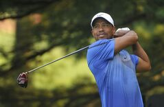 Tiger Woods watches his drive on the second hole, during the third round of the Bridgestone Invitational golf tournament, Saturday Aug. 2, 2014, in Akron, Ohio. (AP Photo/Phil Long)