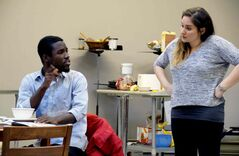 Richie Diggs with co-star Alix Sobler in the production of Social Studies.