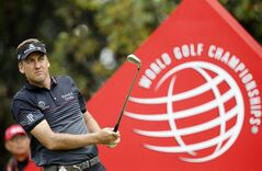 Early leader and defending champion Ian Poulter of England tees off on the 7th hole during the final round of the HSBC Champions golf tournament at the Sheshan International Golf Club in Shanghai, China, Sunday, Nov. 3, 2013. (AP Photo/Eugene Hoshiko)