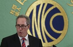 US Trade Representative Michael Froman speaks during a press conference at the Japan National Press Club in Tokyo, Monday, Aug. 19, 2013. Froman is urging Japan to get serious about negotiating over letting more American cars and insurance companies into its market. Froman told reporters Monday the ongoing bilateral talks with Japan dealing with such historical sticking points are tied with the success of the larger and parallel trans-Pacific free trade negotiations. (AP Photo/Shizuo Kambayashi)