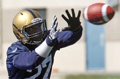 Winnipeg Blue Bomber No. 27, Terrell Parker, makes a catch at training camp.