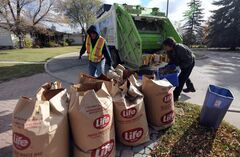 Emterra collection crews pick up yard waste earlier this year.