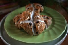 Edna Mroz's hot cross buns are satisfying to make and have a soft, slightly chewy texture.