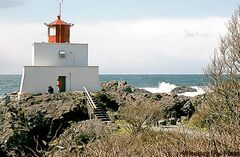 The surf pounds the shore near the lighhouse at Ucluelet, B.C. beside the Wild Pacific Trail.