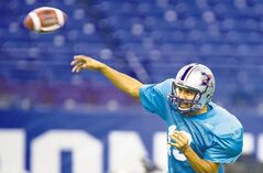 Montreal Alouettes quarterback Anthony Calvillo fires a pass during a practice Friday. AC led the league in passing again this season.