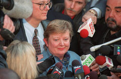 Lesley Parrott speaks to reporters outside court in Toronto Tuesday, April 13, 1999 after Francis Roy was convicted of first-degree murder for killing 11-year-old Alison Parrott.