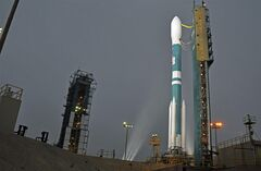In this Monday, June 30, 2014, photo released by NASA, shows NASA's Orbiting Carbon Observatory-2, perched atop a United Launch Alliance Delta II rocket, awaiting launch at the Vandenberg Air Force Base in central California. The launch of NASA's Orbiting Carbon Observatory-2 (OCO-2) aboard a United Launch Alliance Delta II rocket is scheduled for Wednesday, July 2 at 2:56 a.m. PDT (5:56 a.m. EDT) from Space Launch Complex 2 at Vandenberg Air Force Base in Calif. (AP Photo/NASA, Randy Beaudoin,VAFB)