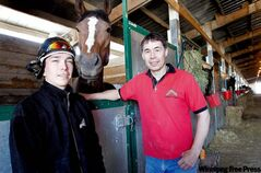 Larren Delorme (left) and Tom Gardipy Jr., with Honorable Lady, are the first aboriginals ever to win top jockey and trainer awards in the same year at Downs.