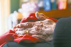 A frail elderly women sits next to her piano where a large bag of wrapped Christmas gifts were stolen from her home Friday morning while she was in her basement loading groceries from a recent trip to the store.  Two men entered her home just after she arrived home from the grocery store around 11 a.m. Friday and went into her living room, stealing her bag of Christmas gifts and a flat-screen TV.  When she came upstairs, they pushed her out of their way and sped off in a waiting car.