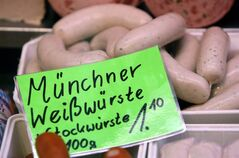 Traditional Munich sausages called