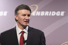 Al Monaco, President and CEO of Enbridge, speaks in Calgary, on May 7, 2014.THE CANADIAN PRESS/Mike Ridewood