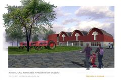 This image provided by the Agricultural Awareness & Preservation Museum shows an artist rendering of the proposed new agricultural museum in Blissfield, Mich. Rhode Island-based architect Friedrich St. Florian, who designed the World War II Memorial in Washington, D.C., said he was inspired by barns in the design for the 30,000-square-foot museum, which would be built in Blissfield, about 55 miles southwest of Detroit. He said the design was obvious and he wanted to use a structure that was a versatile and flexible part of the family farm. (AP Photo/Agricultural Awareness & Preservations Museum)