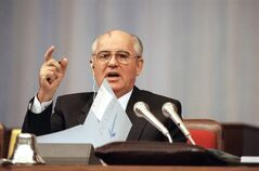 FILE - This Wednesday, Sept. 4, 1991 file photo shows Soviet President Mikhail Gorbachev talking before the Congress of People's Deputies during a debate on his proposal to transform the Soviet Union into a confederation of sovereign states in Moscow. Former Belarusian leader Stanislav Shushkevich says a historic document that proclaimed the death of the Soviet Union is missing from archives. Officials with Belarus' government and the Russia-dominated alliance of ex-Soviet nations confirmed late Wednesday Feb. 6, 2013, they only have copies. (AP Photo/Alexander Zemlianichenko, File)