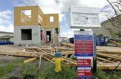 In this May 14, 2014 photo, a new home is under construction in the Winthrop sub-division in Riverview, Fla. he National Association of Home Builders/Wells Fargo releases its monthly index of builder sentiment on Monday, June 16, 2014. (AP Photo/Chris O'Meara)