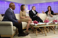 This image released by NBC shows co-hosts, from left, Al Roker, Savannah Guthrie, and Matt Lauer, talking with weekend correspondent Jenna Wolfe as she announces that she is pregnant during the