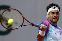 Spain's David Ferrer returns the ball to Italy's Andreas Seppi during the third round match of the French Open tennis tournament at the Roland Garros stadium, in Paris, France, Saturday, May 31, 2014. (AP Photo/Darko Vojinovic)
