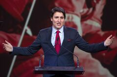 Federal Liberal leader Justin Trudeau makes his opening remarks at the party's Biennial convention Thursday, February 20, 2014 in Montreal.THE CANADIAN PRESS/Ryan Remiorz