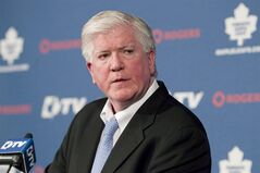 Toronto Maple Leafs general manager Brian Burke attends the year end press briefing in Toronto on Tuesday, April 10, 2011. THE CANADIAN PRESS/Chris Young