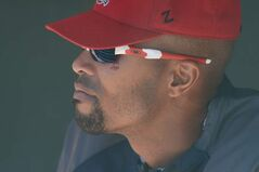 Chris Roberson, bruising around his eye still visible, watches the Winnipeg Goldeyes take on the St. Paul Saints Sunday.
