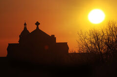 The morning sun illuminates St. Boniface Cathedral-Basilica and Université de Saint-Boniface this morning.