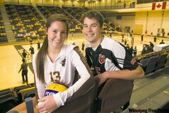 The Duckworth Challenge becomes a sibling rivalry when Sam and Ty Loewen hit the volleyball court. Sister Sam plays for the Bisons, brother Ty plays for the Wesmen.