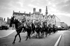 The Household Cavalry Mounted Regiment rehearses for its jubilee procession outside the Palace of Westminster Friday.