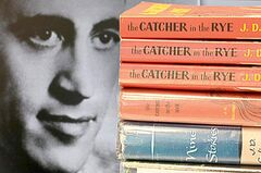 A photo of J.D. Salinger appears next to copies of his classic novel The Catcher in the Rye as well as his volume of short stories called Nine Stories.
