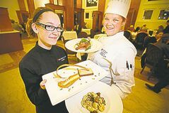Hotel and restaurant management  student Hayley McMurray (left) and culinary arts student Jessica Cuthbert