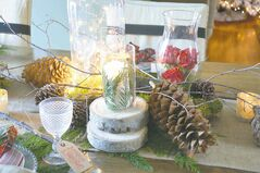 Round log disks elevate elements of this centrepiece for added dimension. Fill a glass dome with battery operated twinkle lights, add a single fresh bloom in a tiny bud vase, scatter pinecones and voila, an enchanting display for your holiday table.
