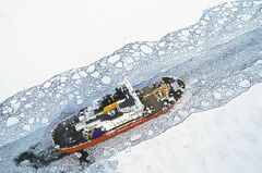 The U.S. Coast Guard icebreaker Mackinaw maintains a shipping lane  on the St. Marys River linking Lakes Superior and Huron.