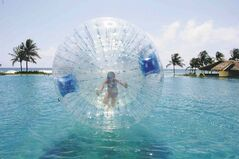 The giant bubble ride comes out daily at the Ambassador pool complex.